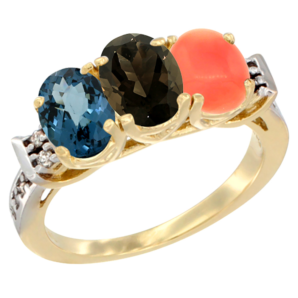 10K Yellow Gold Natural London Blue Topaz, Smoky Topaz & Coral Ring 3-Stone Oval 7x5 mm Diamond Accent, sizes 5 - 10