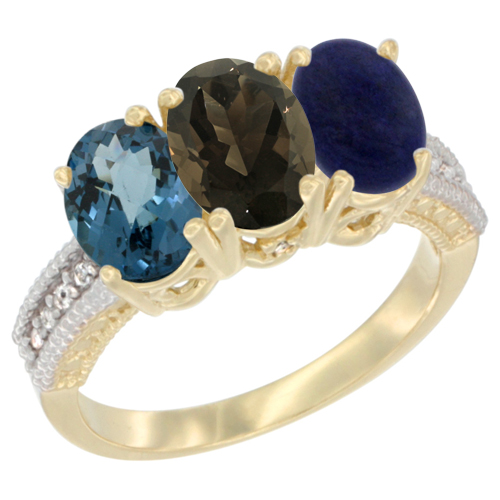 10K Yellow Gold Diamond Natural London Blue Topaz, Smoky Topaz & Lapis Ring 3-Stone Oval 7x5 mm, sizes 5 - 10