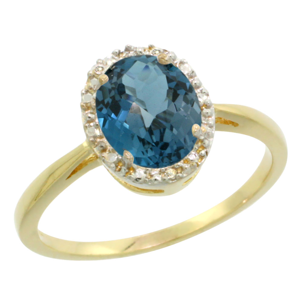 14K Yellow Gold Natural London Blue Topaz Diamond Halo Ring Oval 8X6mm, sizes 5 - 10