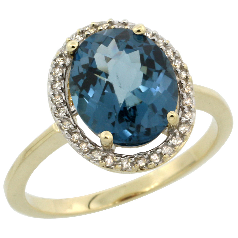 10K Yellow Gold Diamond Halo Natural London Blue Topaz Engagement Ring Oval 10x8 mm, sizes 5-10