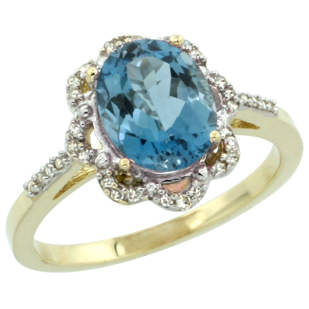 14K Yellow Gold Diamond Halo Natural London Blue Topaz Engagement Ring Oval 9x7mm, sizes 5-10