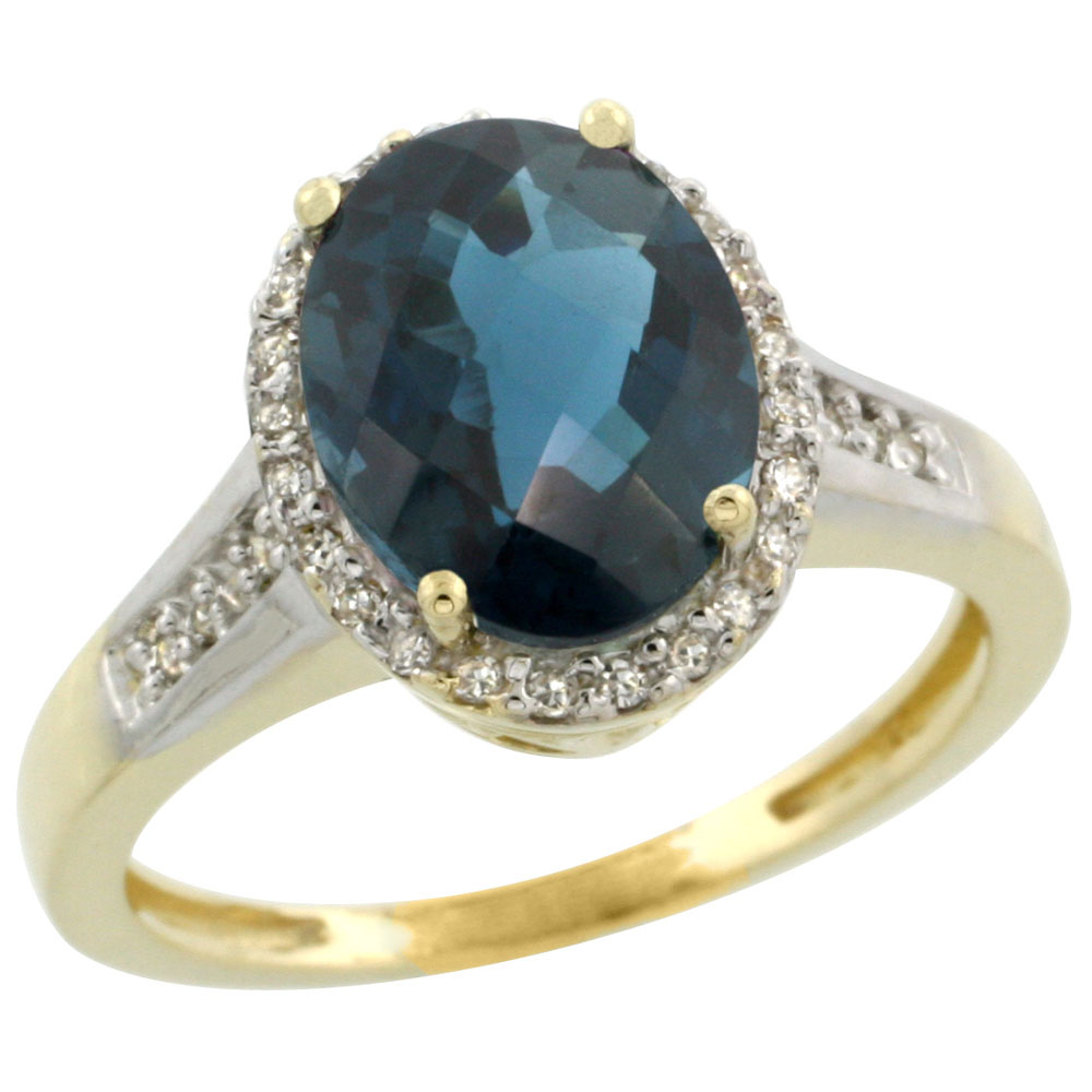 10K Yellow Gold Diamond Natural London Blue Topaz Engagement Ring Oval 10x8mm, sizes 5-10