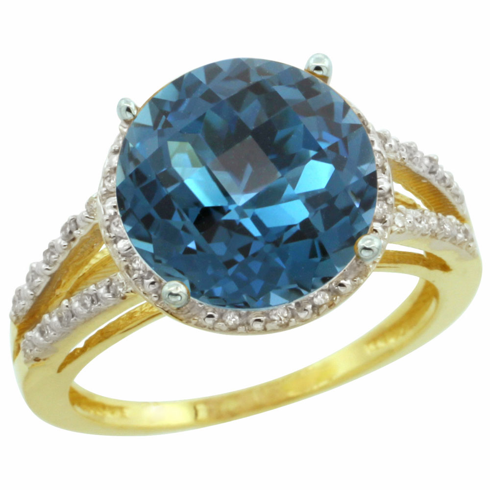 10K Yellow Gold Diamond Natural London Blue Topaz Ring Round 11mm, sizes 5-10