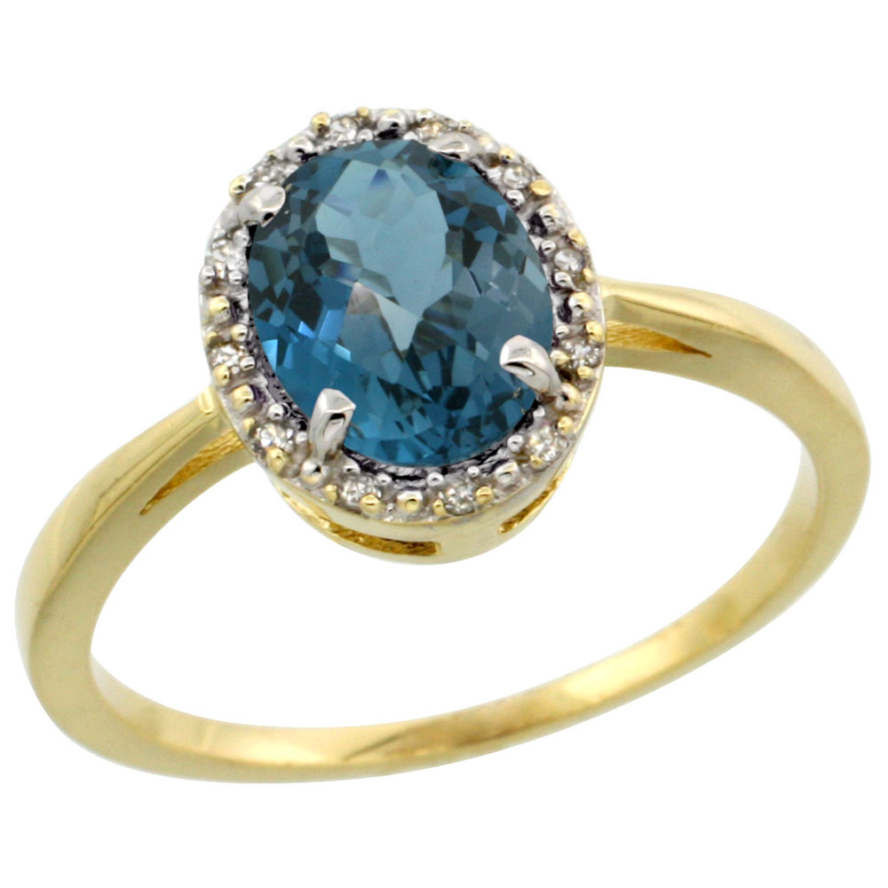 10k Yellow Gold Natural London Blue Topaz Ring Oval 8x6 mm Diamond Halo, sizes 5-10
