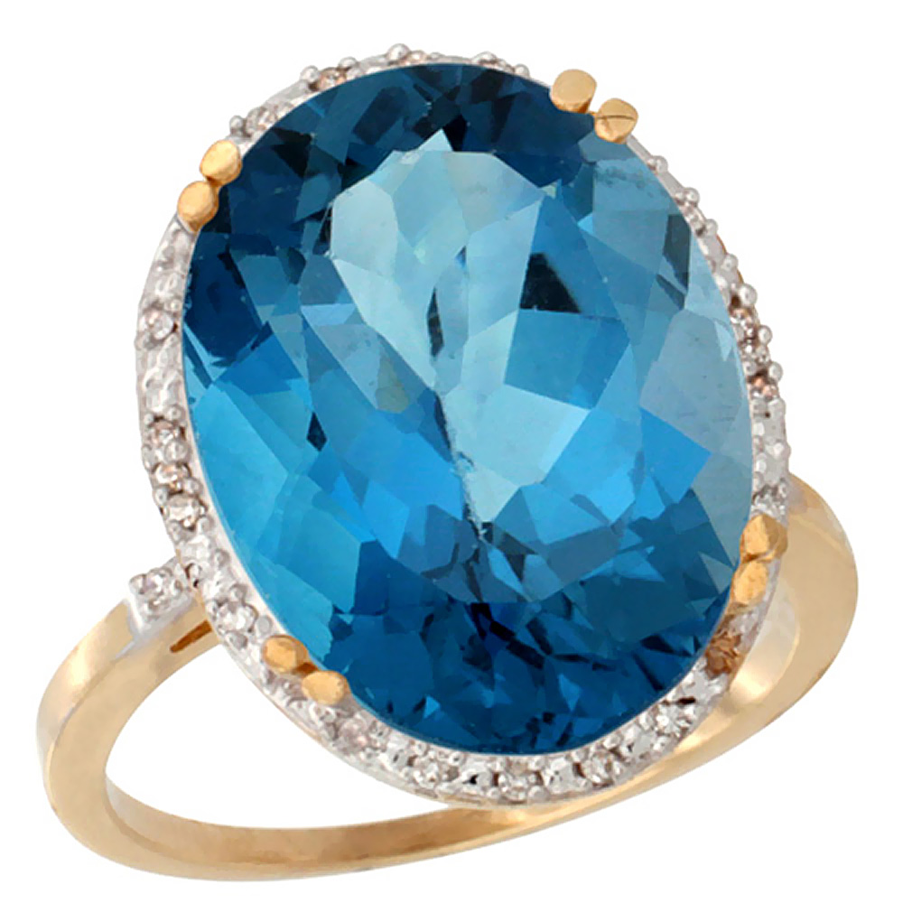 10k Yellow Gold Natural London Blue Topaz Ring Large Oval 18x13mm Diamond Halo, sizes 5-10