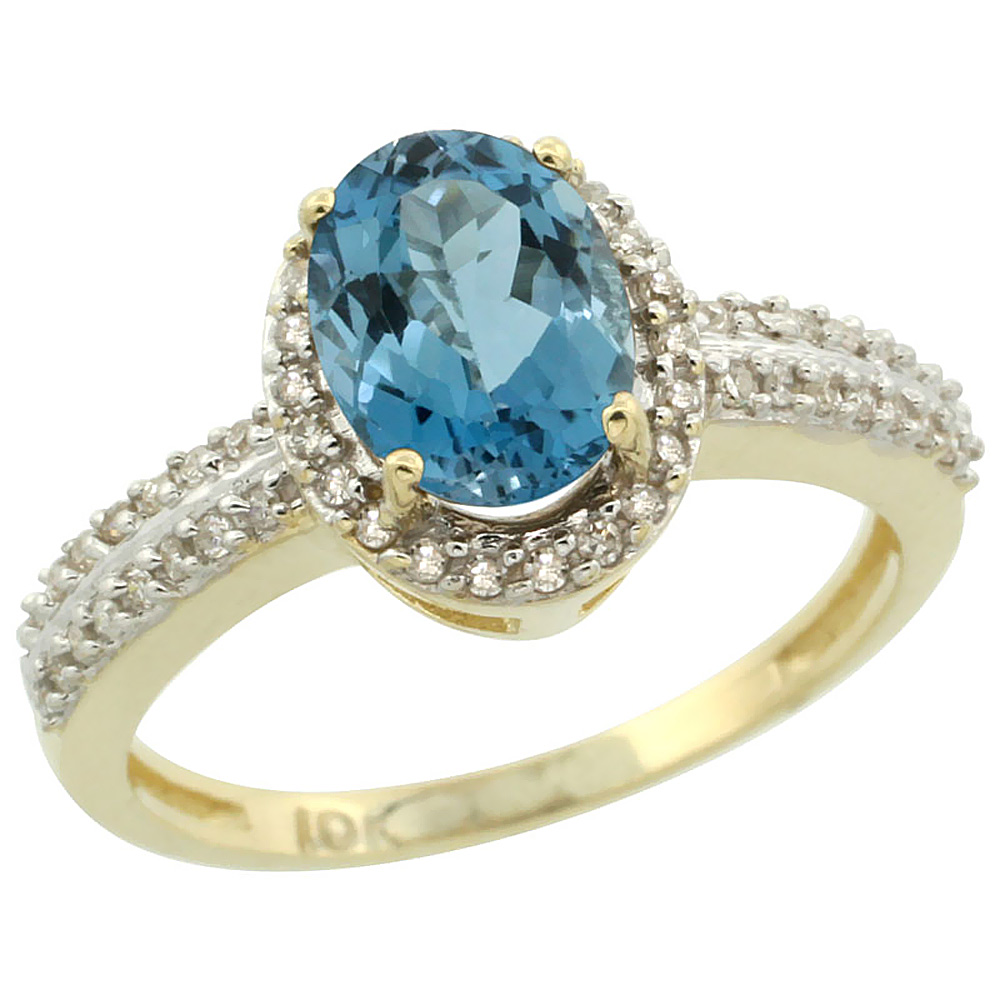 10k Yellow Gold Natural London Blue Topaz Ring Oval 8x6mm Diamond Halo, sizes 5-10