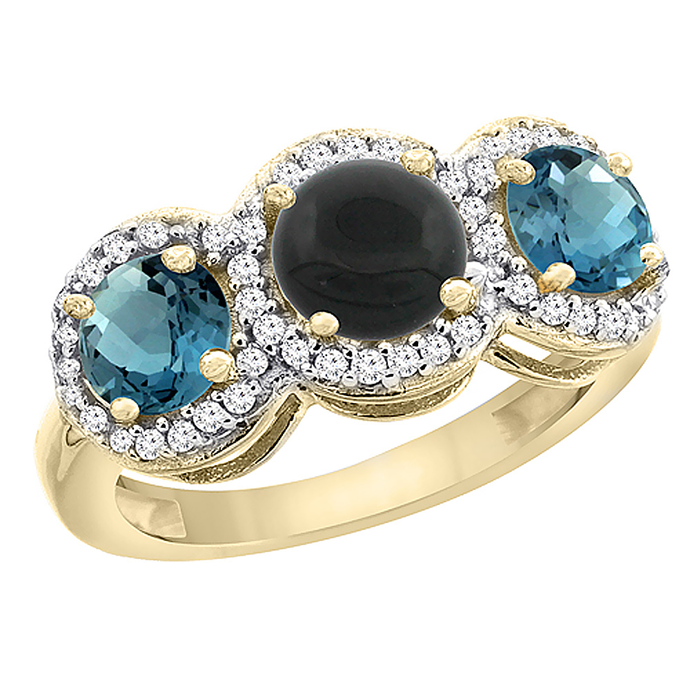 10K Yellow Gold Natural Black Onyx & London Blue Topaz Sides Round 3-stone Ring Diamond Accents, sizes 5 - 10
