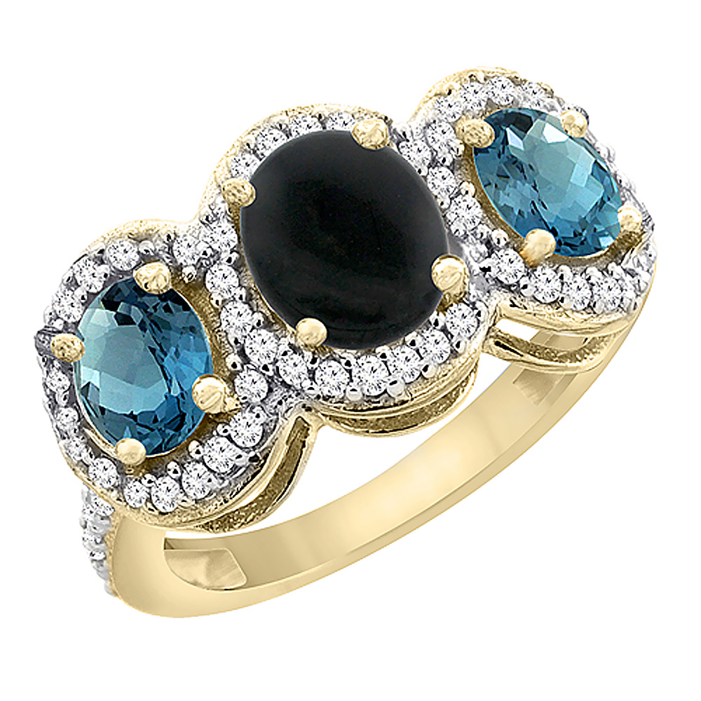 10K Yellow Gold Natural Black Onyx & London Blue Topaz 3-Stone Ring Oval Diamond Accent, sizes 5 - 10