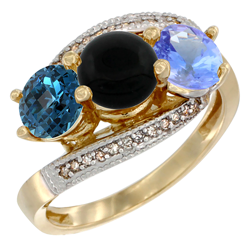 10K Yellow Gold Natural London Blue Topaz, Black Onyx & Tanzanite 3 stone Ring Round 6mm Diamond Accent, sizes 5 - 10