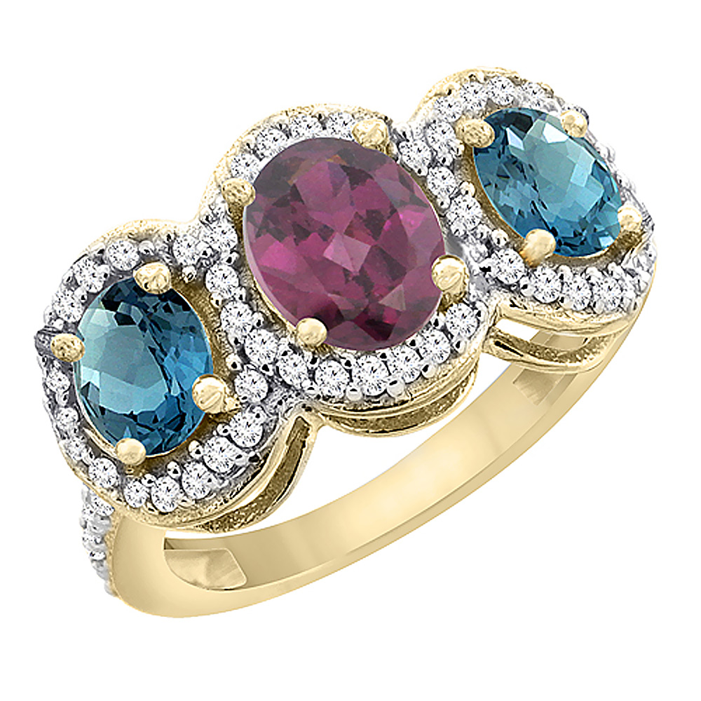 10K Yellow Gold Natural Rhodolite & London Blue Topaz 3-Stone Ring Oval Diamond Accent, sizes 5 - 10