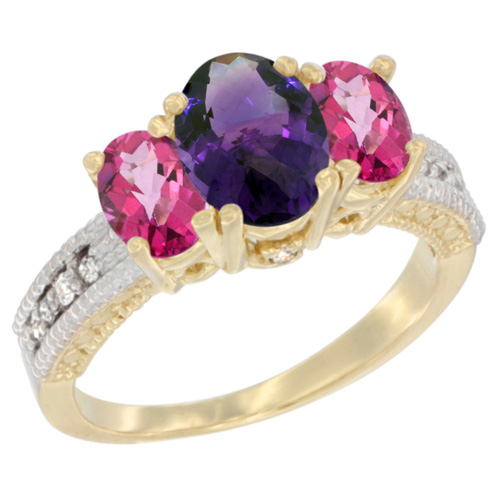 10K Yellow Gold Diamond Natural Amethyst Ring Oval 3-stone with Pink Topaz, sizes 5 - 10