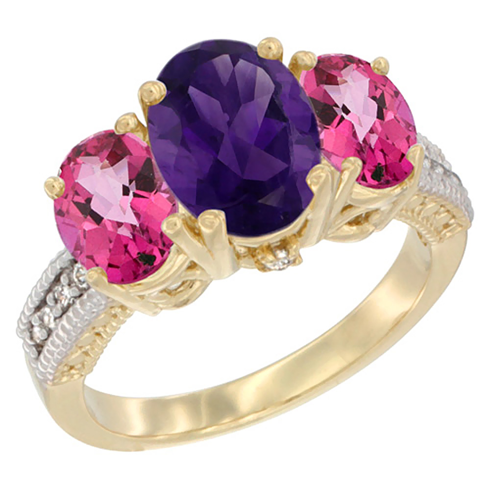 10K Yellow Gold Natural Amethyst Ring Ladies 3-Stone 8x6 Oval with Pink Topaz Sides Diamond Accent, sizes 5 - 10