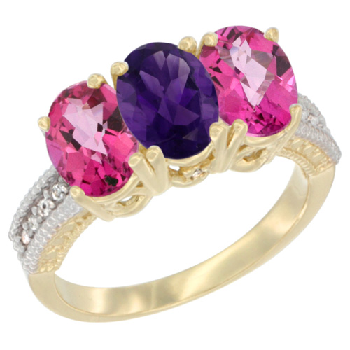 10K Yellow Gold Diamond Natural Amethyst & Pink Topaz Ring 3-Stone Oval 7x5 mm, sizes 5 - 10