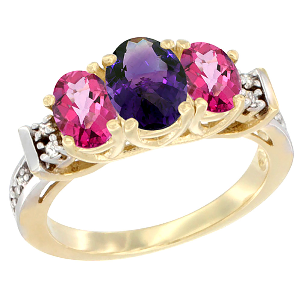 10K Yellow Gold Natural Amethyst & Pink Topaz Ring 3-Stone Oval Diamond Accent