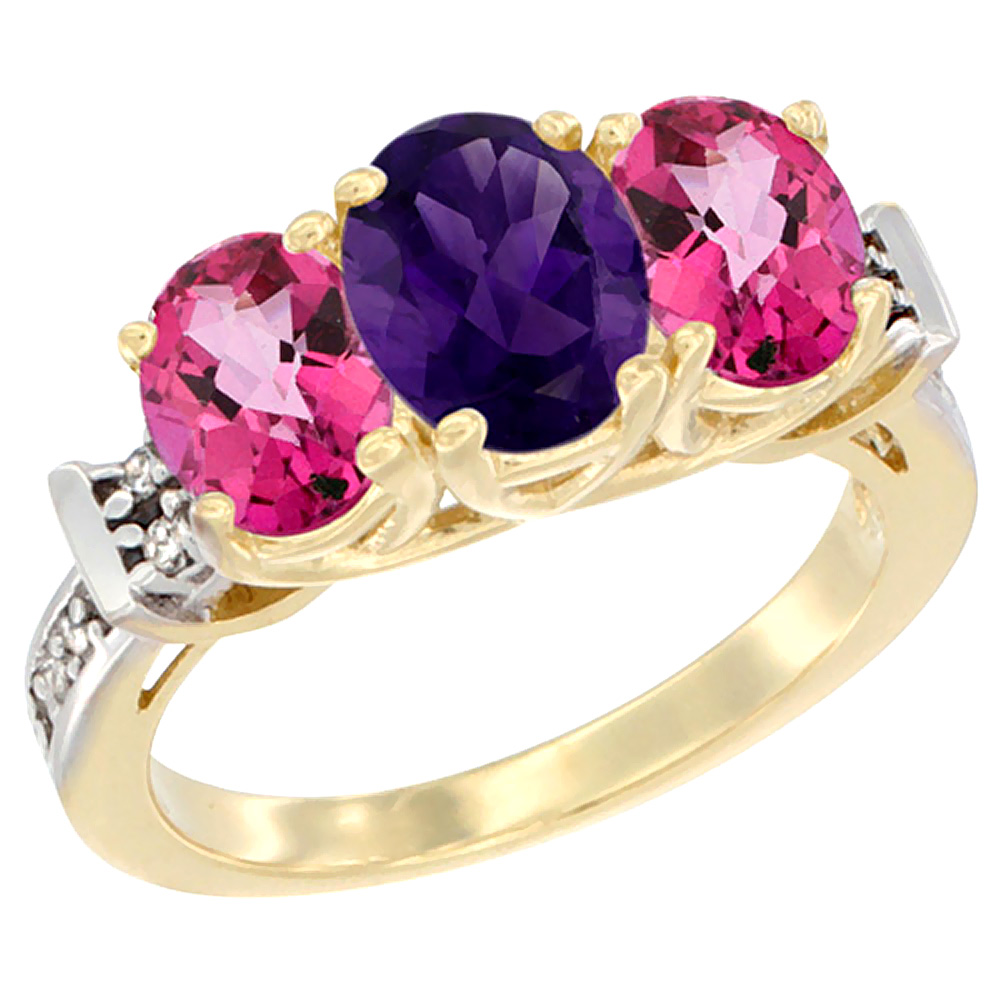 10K Yellow Gold Natural Amethyst & Pink Topaz Sides Ring 3-Stone Oval Diamond Accent, sizes 5 - 10