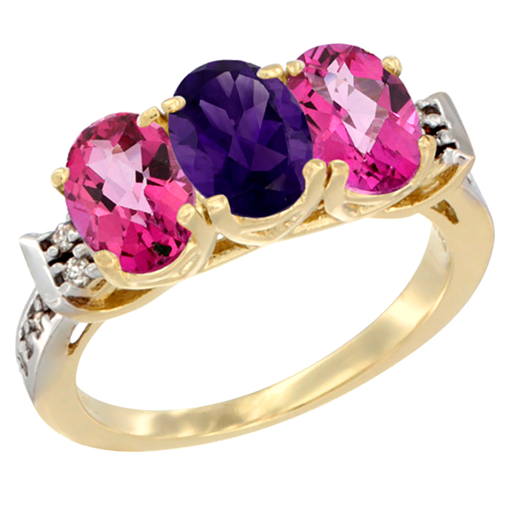 10K Yellow Gold Natural Amethyst & Pink Topaz Sides Ring 3-Stone Oval 7x5 mm Diamond Accent, sizes 5 - 10