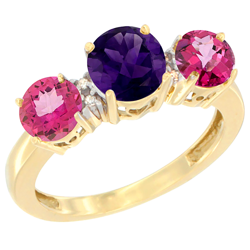 10K Yellow Gold Round 3-Stone Natural Amethyst Ring & Pink Topaz Sides Diamond Accent, sizes 5 - 10