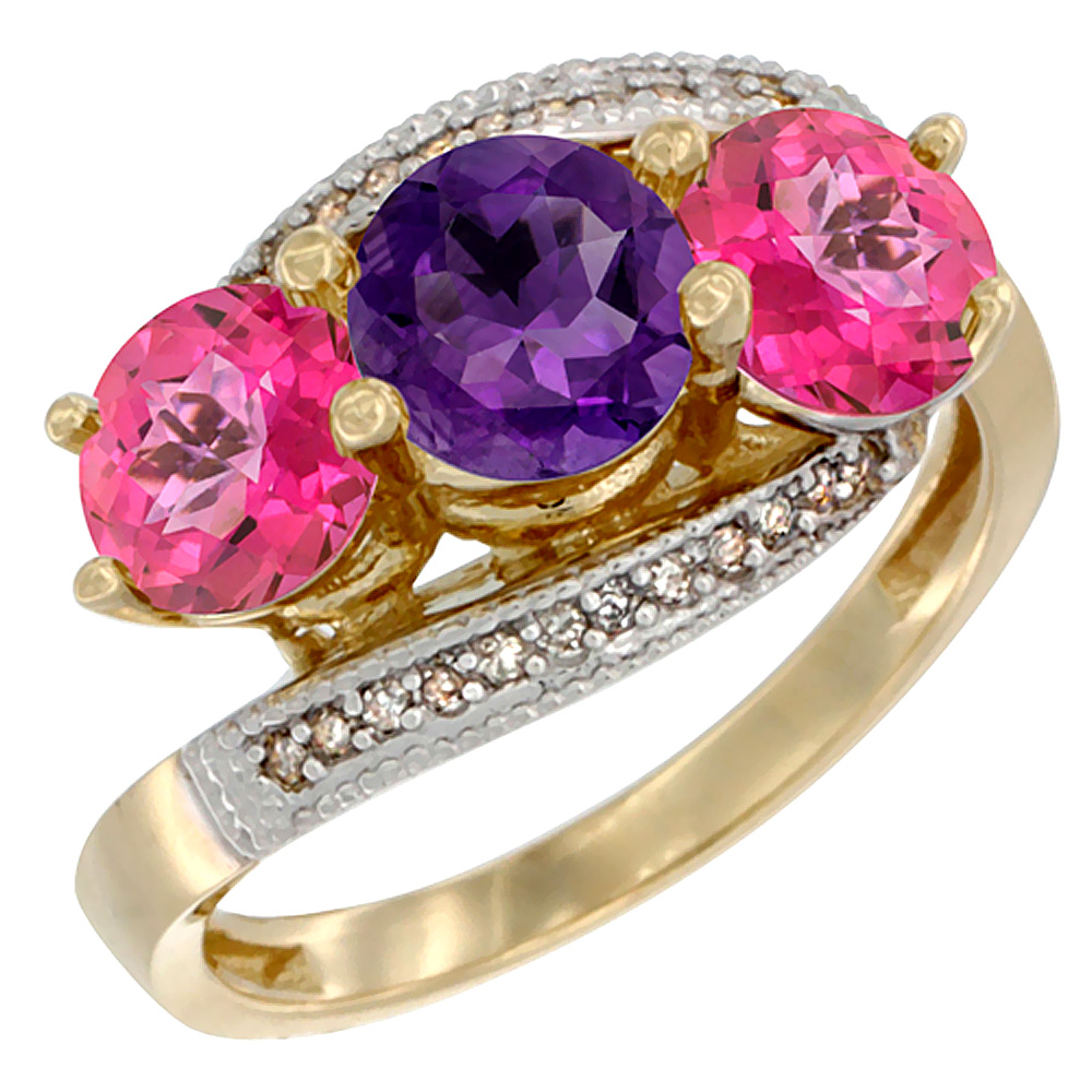 10K Yellow Gold Natural Amethyst & Pink Topaz Sides 3 stone Ring Round 6mm Diamond Accent, sizes 5 - 10