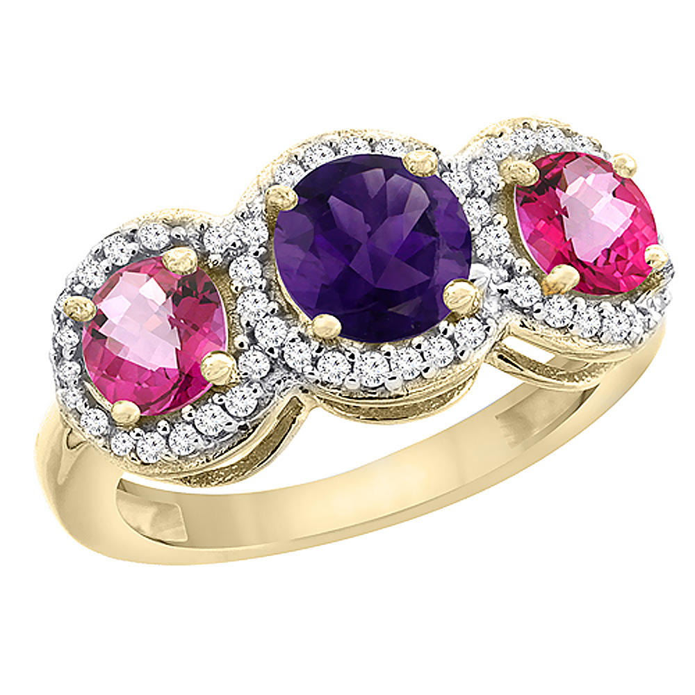 10K Yellow Gold Natural Amethyst & Pink Topaz Sides Round 3-stone Ring Diamond Accents, sizes 5 - 10