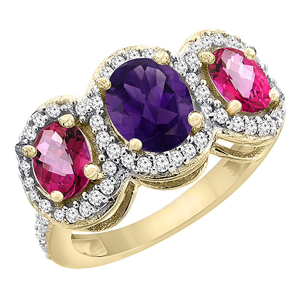 10K Yellow Gold Natural Amethyst & Pink Topaz 3-Stone Ring Oval Diamond Accent, sizes 5 - 10