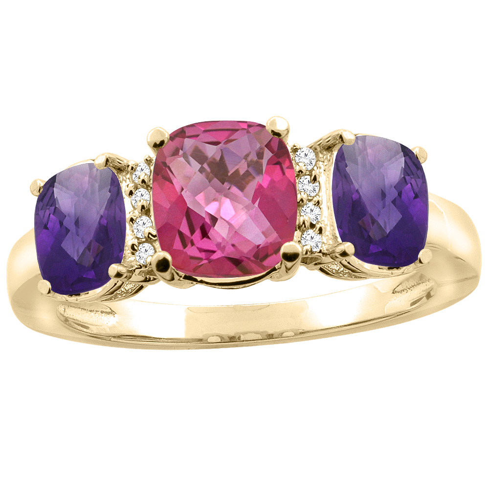 10K Yellow Gold Natural Pink Topaz & Amethyst 3-stone Ring Cushion 8x6mm Diamond Accent, sizes 5 - 10