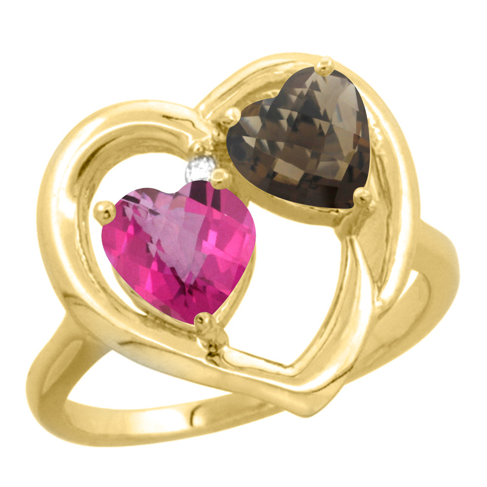 14K Yellow Gold Diamond Two-stone Heart Ring 6 mm Natural Pink & Smoky Topaz, sizes 5-10