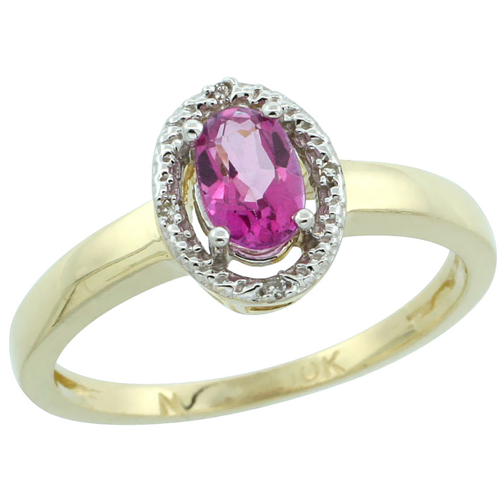 10K Yellow Gold Diamond Halo Natural Pink Topaz Engagement Ring Oval 6X4 mm, sizes 5-10