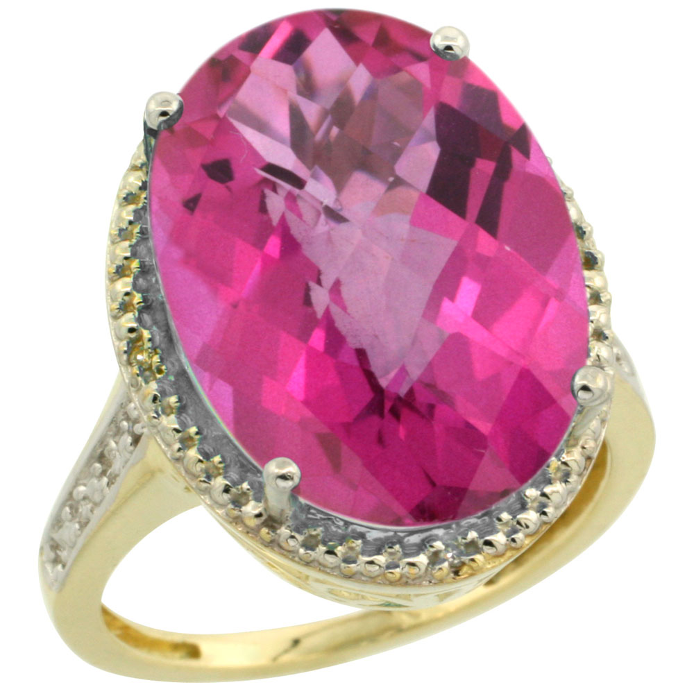 10K Yellow Gold Diamond Natural Pink Topaz Ring Oval 18x13mm, sizes 5-10