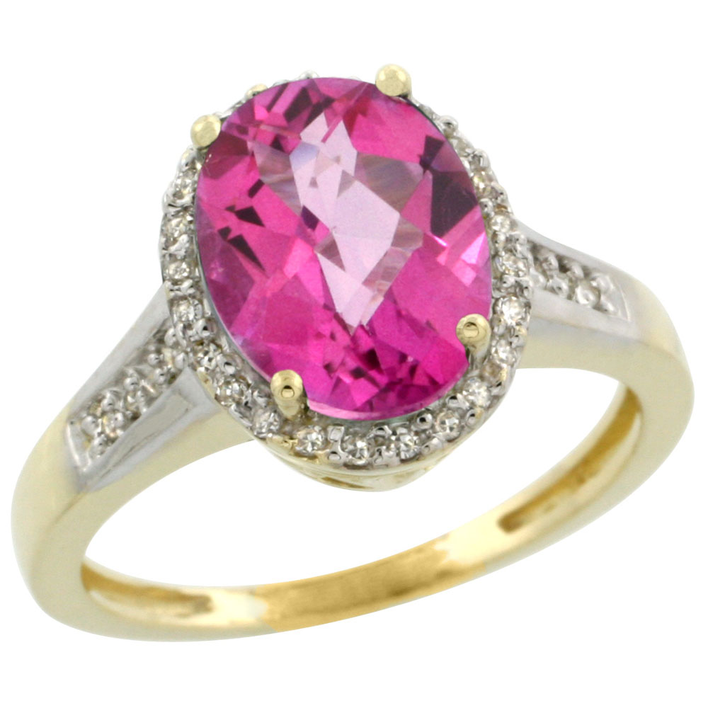 10K Yellow Gold Diamond Jewelry-Color Gemstone Rings-Pink Topaz