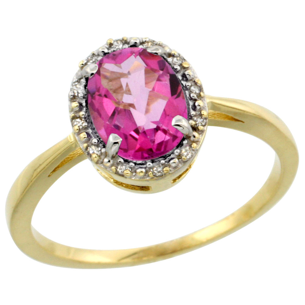 10k Yellow Gold Natural Pink Topaz Ring Oval 8x6 mm Diamond Halo, sizes 5-10