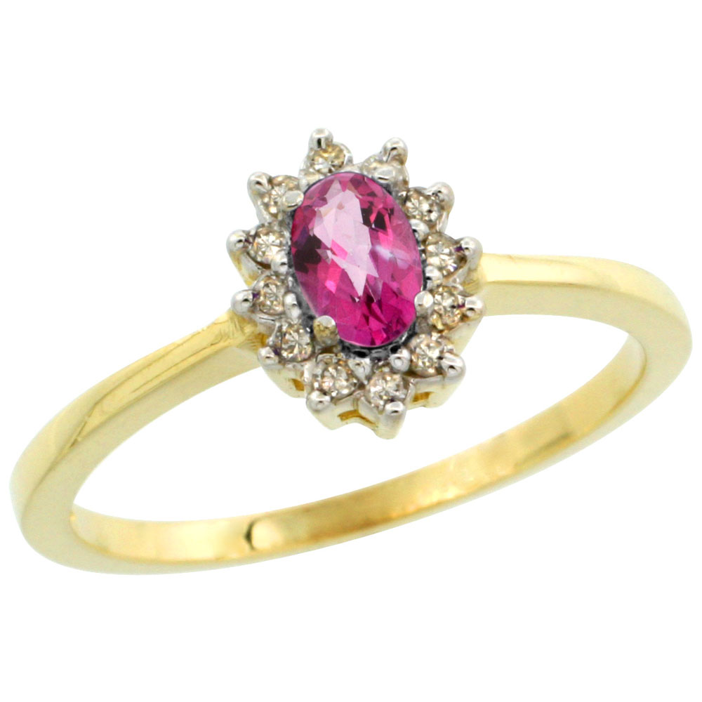 10k Yellow Gold Natural Pink Topaz Ring Oval 5x3mm Diamond Halo, sizes 5-10