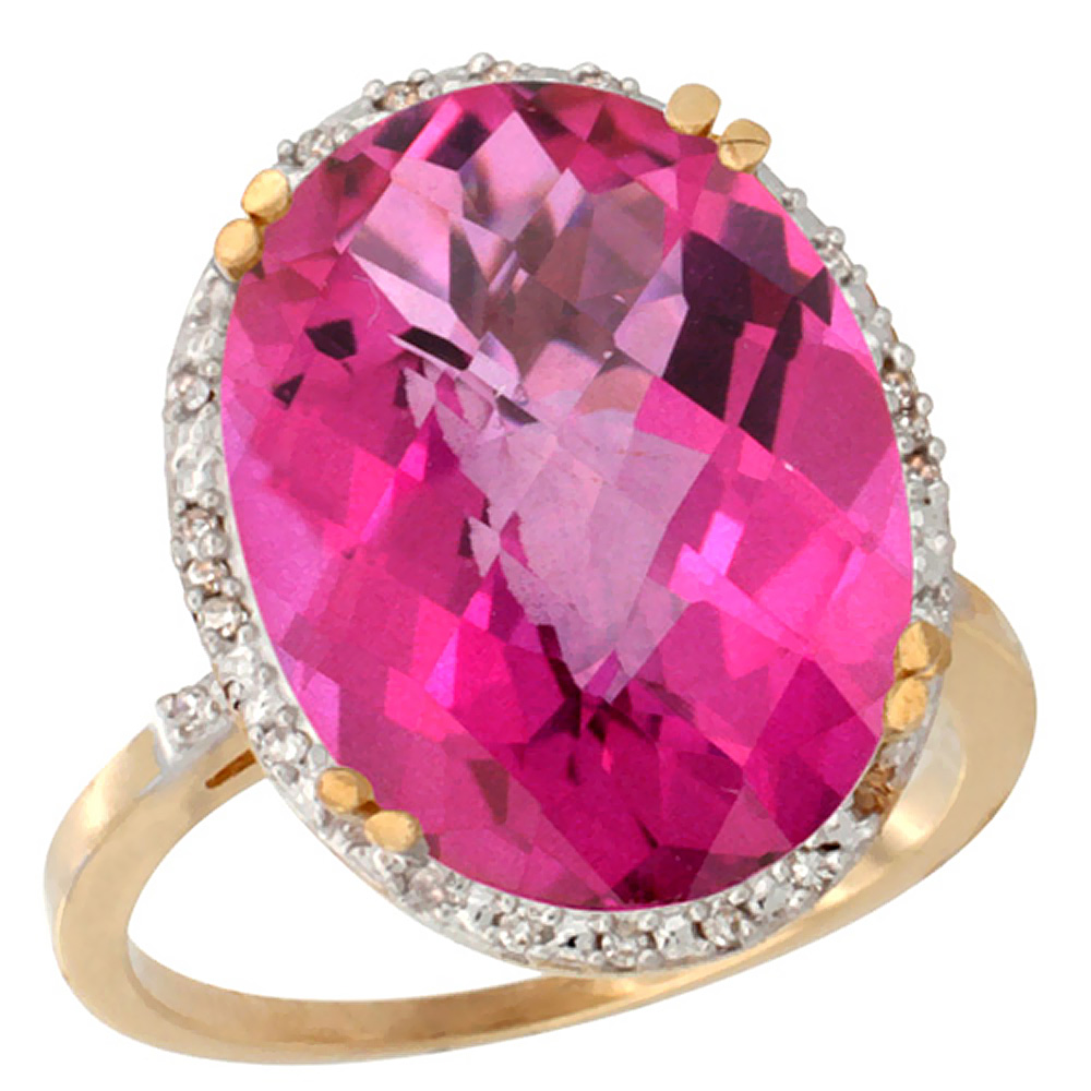 10k Yellow Gold Natural Pink Topaz Ring Large Oval 18x13mm Diamond Halo, sizes 5-10