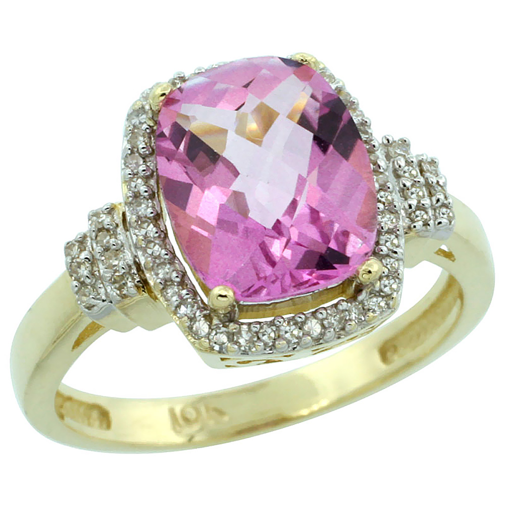 10k Yellow Gold Natural Pink Topaz Ring Cushion-cut 9x7mm Diamond Halo, sizes 5-10
