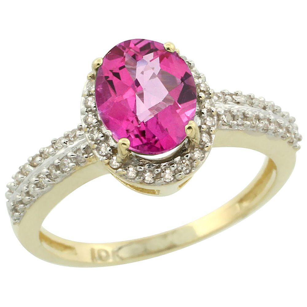 14K Yellow Gold Diamond Jewelry-Color Gemstone Rings-Pink Sapphire