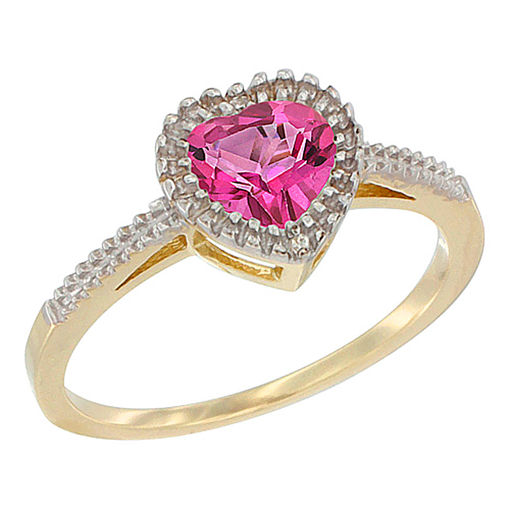 14K Yellow Gold Natural Pink Topaz Ring Heart 6x6 mm, sizes 5 - 10