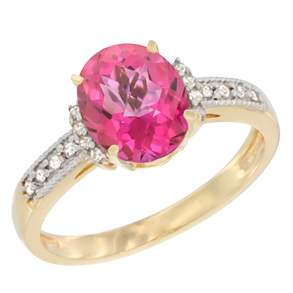 14K Yellow Gold Natural Pink Topaz Ring Oval 9x7 mm Diamond Accent, sizes 5 - 10