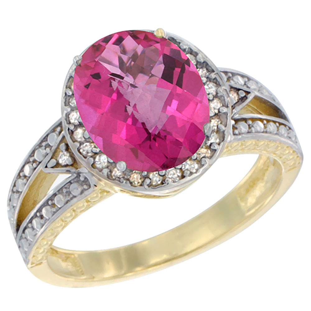 14K Yellow Gold Natural Pink Topaz Ring Oval 9x7 mm Diamond Halo, sizes 5 - 10