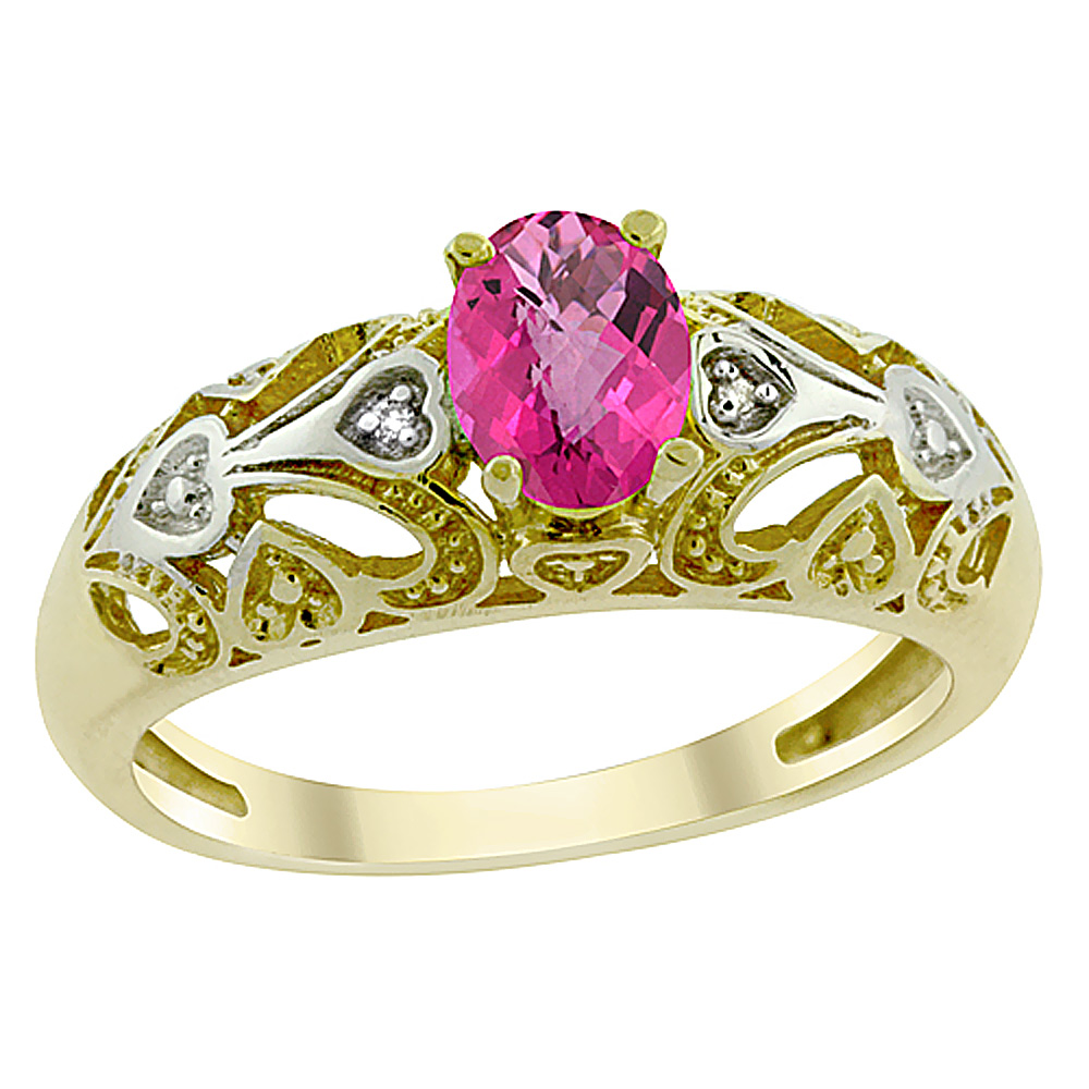 14K Yellow Gold Natural Pink Topaz Ring Oval 6x4 mm Diamond Accent, sizes 5 - 10