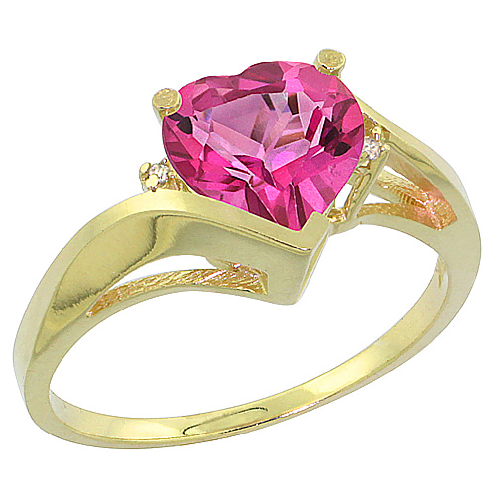 14K Yellow Gold Natural Pink Topaz Heart Ring 7mm Diamond Accent, sizes 5 - 10