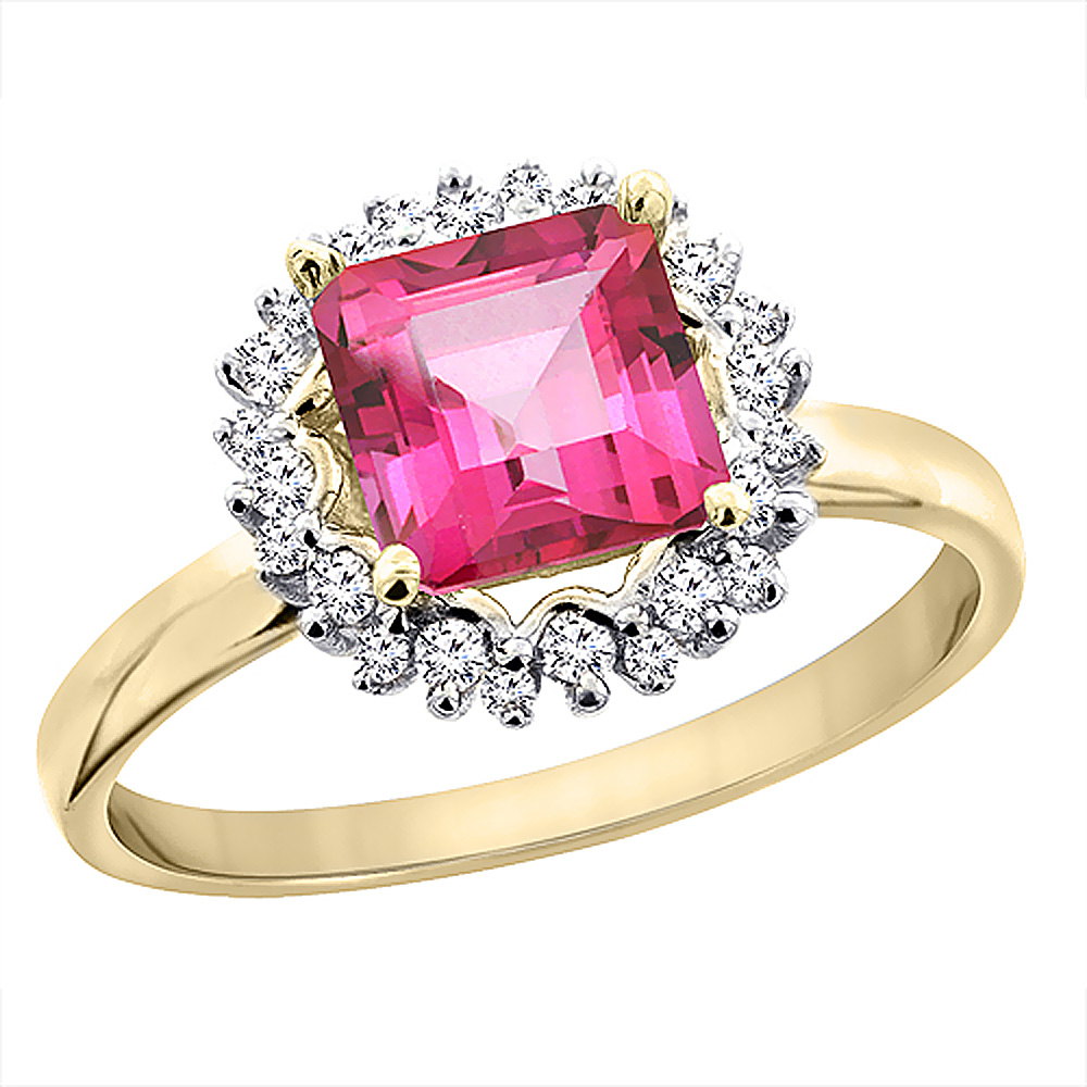 14K Yellow Gold Natural Pink Topaz Ring Square 6x6 mm Diamond Accents, sizes 5 - 10
