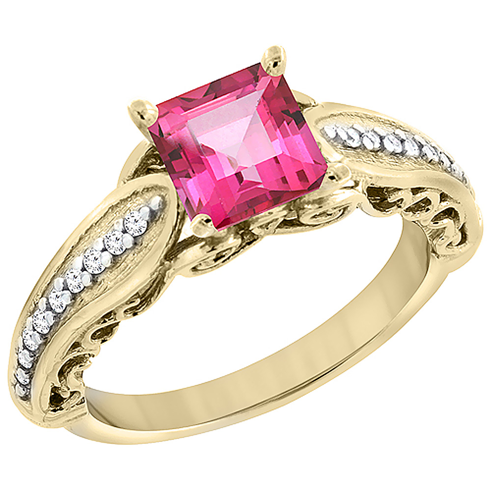 14K Yellow Gold Natural Pink Topaz Ring Square 8x8mm with Diamond Accents, sizes 5 - 10