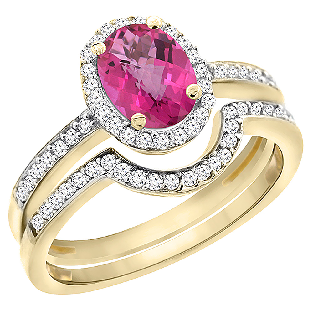 14K Yellow Gold Diamond Natural Pink Sapphire 2-Pc. Engagement Ring Set Oval 8x6 mm, sizes 5 - 10