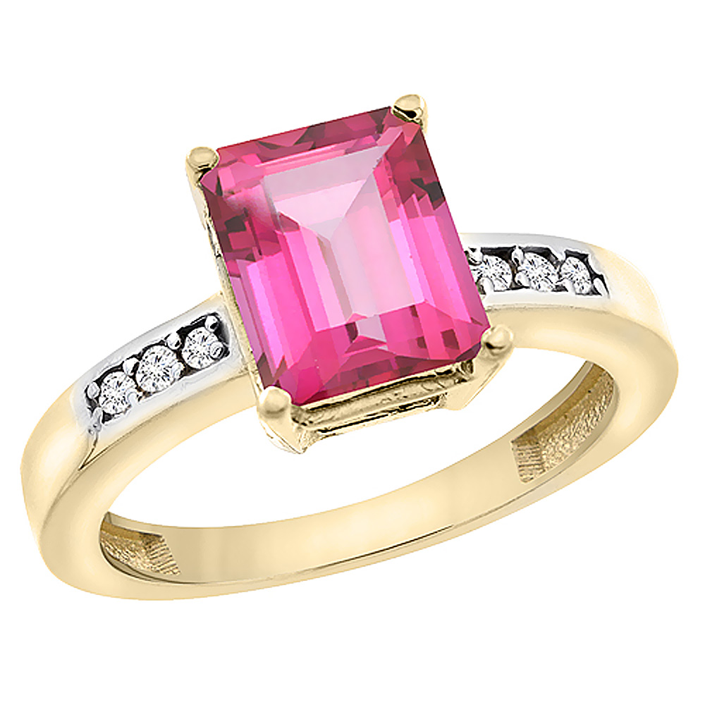 14K Yellow Gold Natural Pink Topaz Octagon 9x7 mm with Diamond Accents, sizes 5 - 10