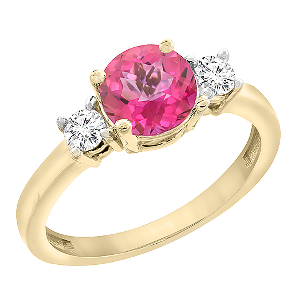 14K Yellow Gold Diamond Natural Pink Topaz Engagement Ring Round 7mm, sizes 5 to 10 with half sizes