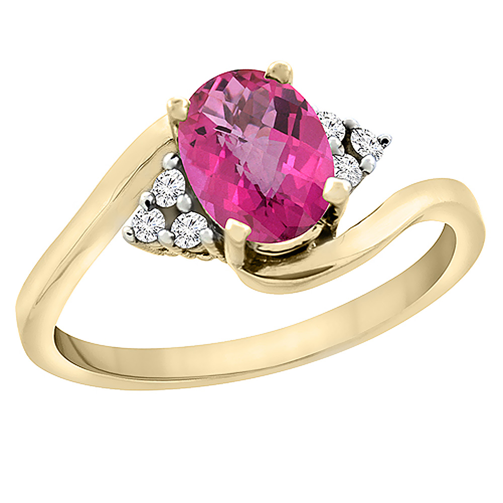 14K Yellow Gold Diamond Natural Pink Sapphire Engagement Ring Oval 7x5mm, sizes 5 - 10