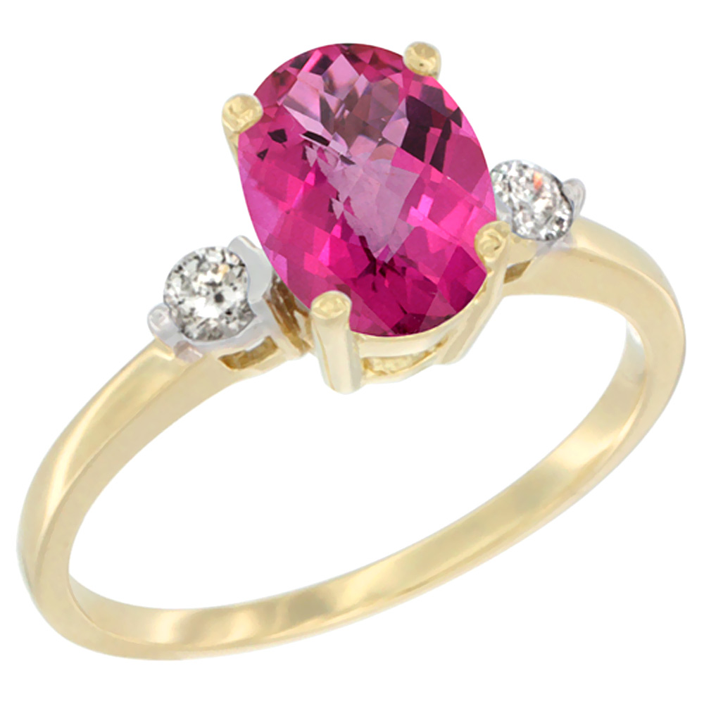 14K Yellow Gold Natural Pink Topaz Ring Oval 9x7 mm Diamond Accent, sizes 5 to 10