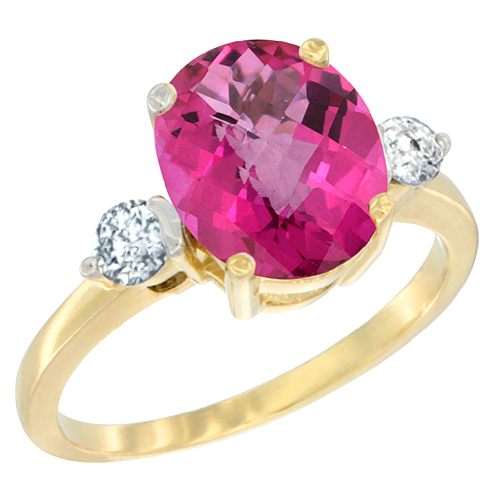 14K Yellow Gold Natural Pink Topaz Ring Oval 10x8mm Diamond Accent, sizes 5 - 10