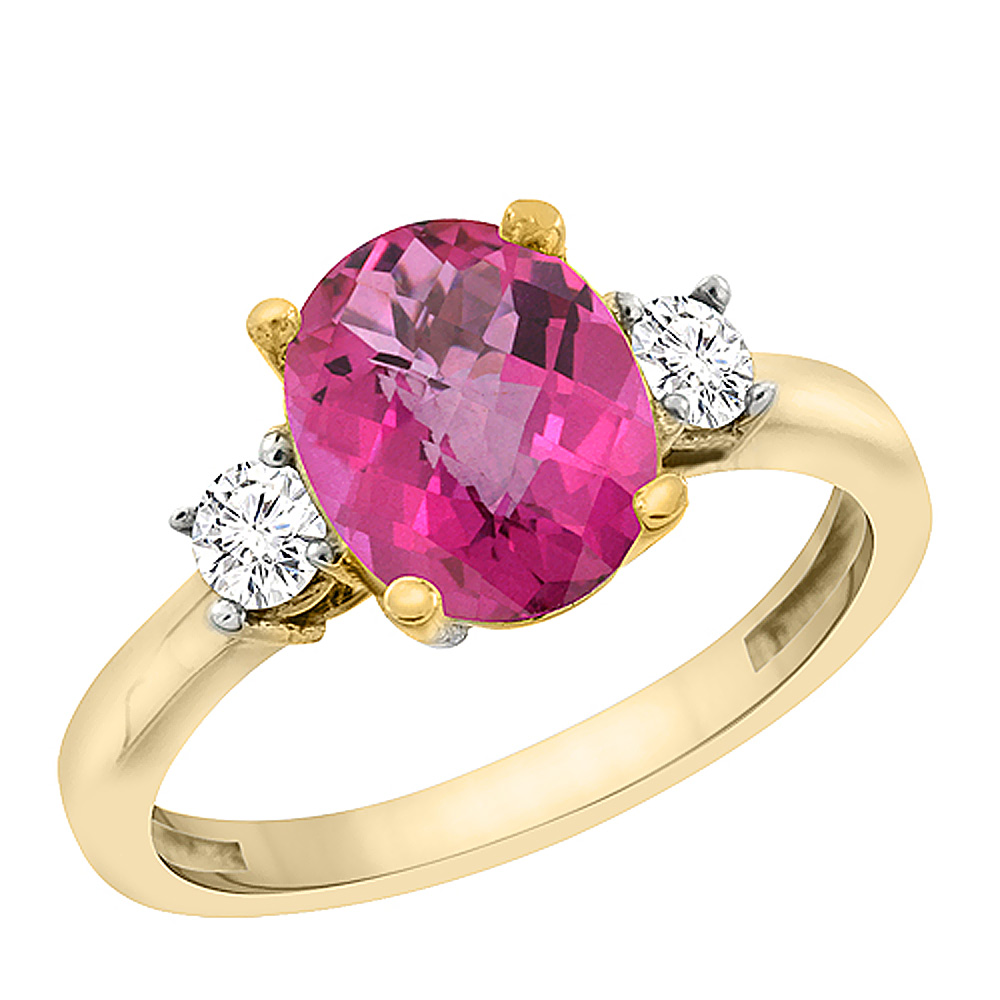 14K Yellow Gold Natural Pink Topaz Engagement Ring Oval 10x8 mm Diamond Sides, sizes 5 - 10