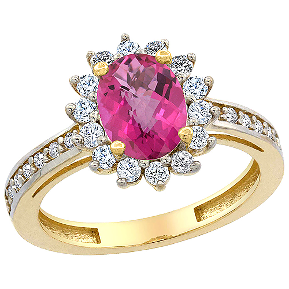 14K Yellow Gold Natural Pink Sapphire Floral Halo Ring Oval 8x6mm Diamond Accents, sizes 5 - 10