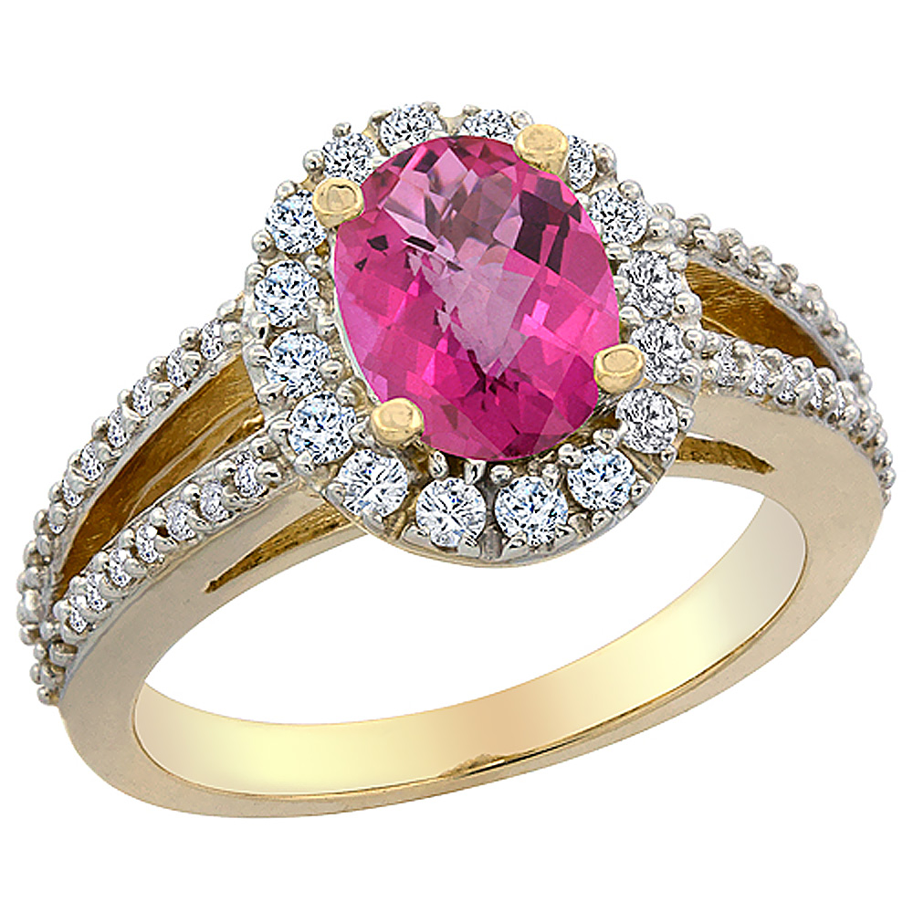 14K Yellow Gold Natural Pink Sapphire Halo Ring Oval 8x6 mm with Diamond Accents, sizes 5 - 10